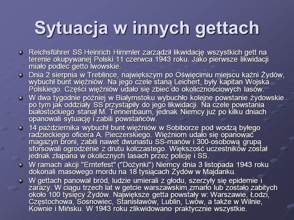 Sytuacja w innych gettach Reichsführer SS Heinrich Himmler zarządził likwidację wszystkich gett na terenie okupywanej Polski 11 czerwca 1943 roku. Jak