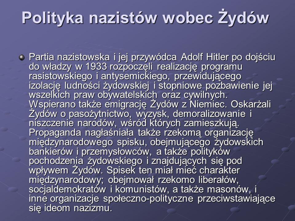 Polityka nazistów wobec Żydów Partia nazistowska i jej przywódca Adolf Hitler po dojściu do władzy w 1933 rozpoczęli realizację programu rasistowskieg