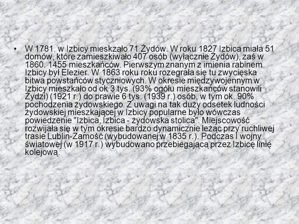 W 1781. w Izbicy mieskzało 71 Żydów. W roku 1827 Izbica miała 51 domów, które zamieszkiwało 407 osób (wyłącznie Żydów), zaś w 1860. 1455 mieszkańców.