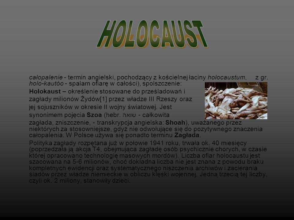 całopalenie - termin angielski, pochodzący z kościelnej łaciny holocaustum, z gr. holo-kautóo - spalam ofiarę w całości), spolszczenie: Holokaust – ok