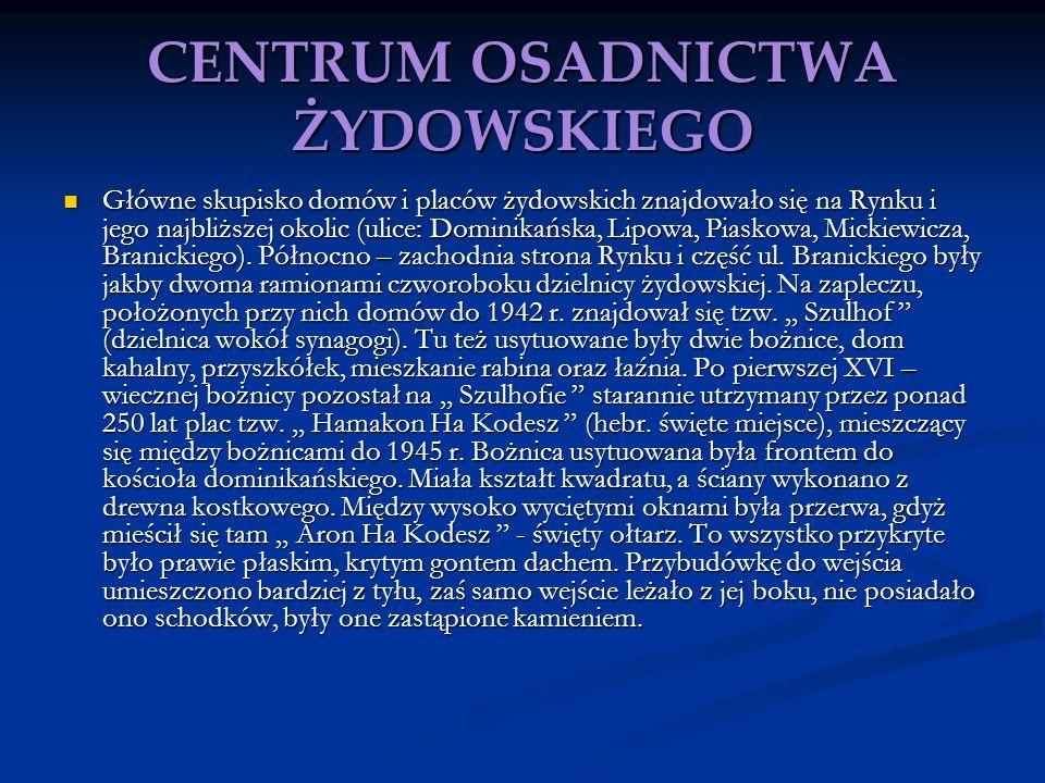 CENTRUM OSADNICTWA ŻYDOWSKIEGO Główne skupisko domów i placów żydowskich znajdowało się na Rynku i jego najbliższej okolic (ulice: Dominikańska, Lipow