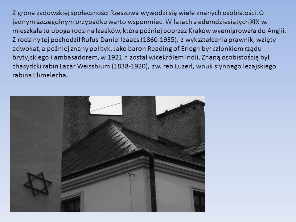 W latach międzywojennych w Rzeszowie działały 44 żydowskie stowarzyszenia gospodarcze i kulturalne, istniała szkoła podstawowa i gimnazjum oraz okazały Żydowski Dom Ludowy (obecny WDK), zbudowany w l 929 r.