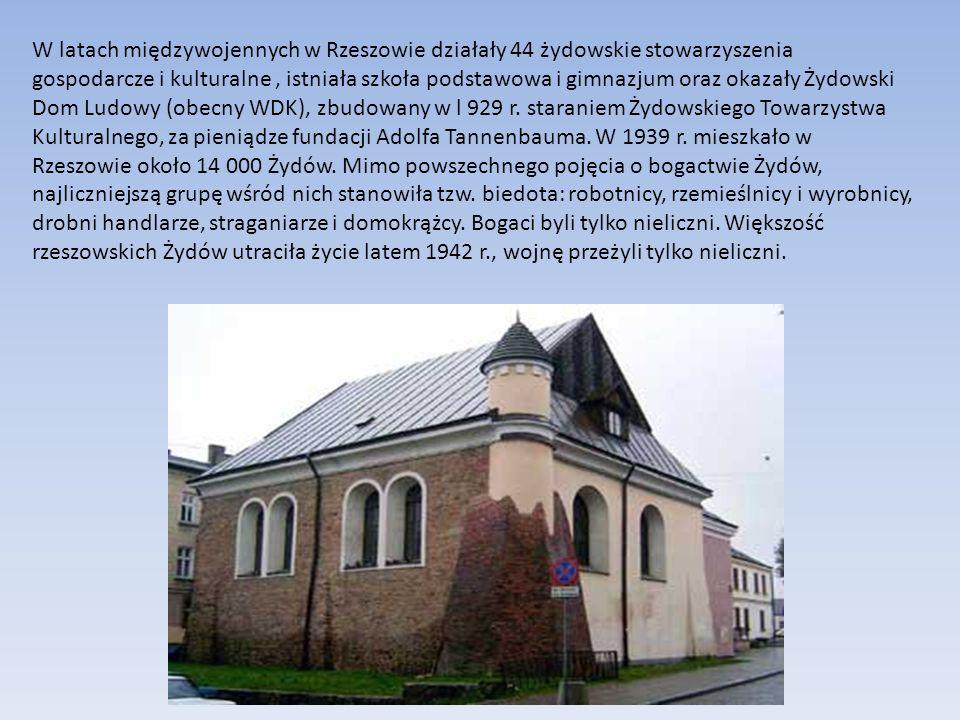 W latach międzywojennych w Rzeszowie działały 44 żydowskie stowarzyszenia gospodarcze i kulturalne, istniała szkoła podstawowa i gimnazjum oraz okazał