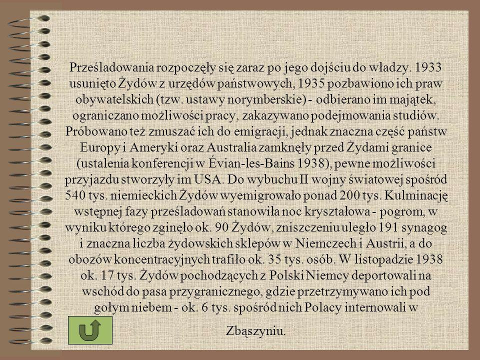 Prześladowania rozpoczęły się zaraz po jego dojściu do władzy. 1933 usunięto Żydów z urzędów państwowych, 1935 pozbawiono ich praw obywatelskich (tzw.