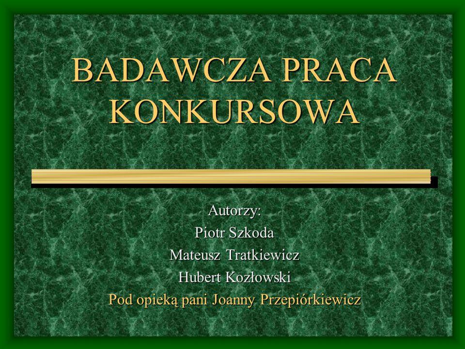 BADAWCZA PRACA KONKURSOWA Autorzy: Piotr Szkoda Mateusz Tratkiewicz Hubert Kozłowski Pod opieką pani Joanny Przepiórkiewicz