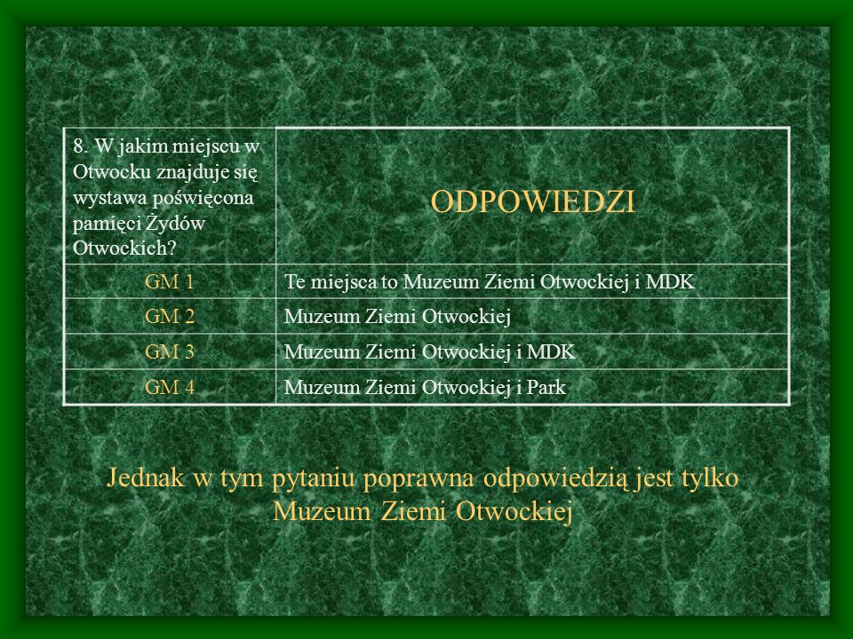 8. W jakim miejscu w Otwocku znajduje się wystawa poświęcona pamięci Żydów Otwockich? ODPOWIEDZI GM 1Te miejsca to Muzeum Ziemi Otwockiej i MDK GM 2Mu