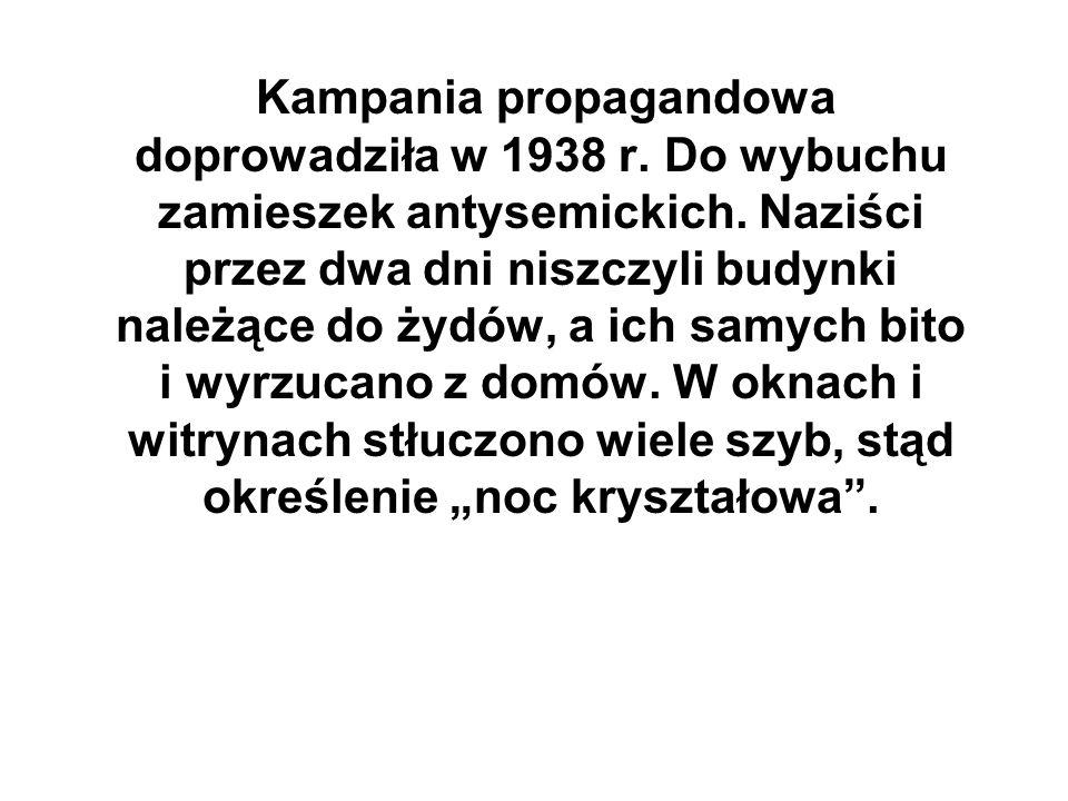 Kampania propagandowa doprowadziła w 1938 r. Do wybuchu zamieszek antysemickich. Naziści przez dwa dni niszczyli budynki należące do żydów, a ich samy