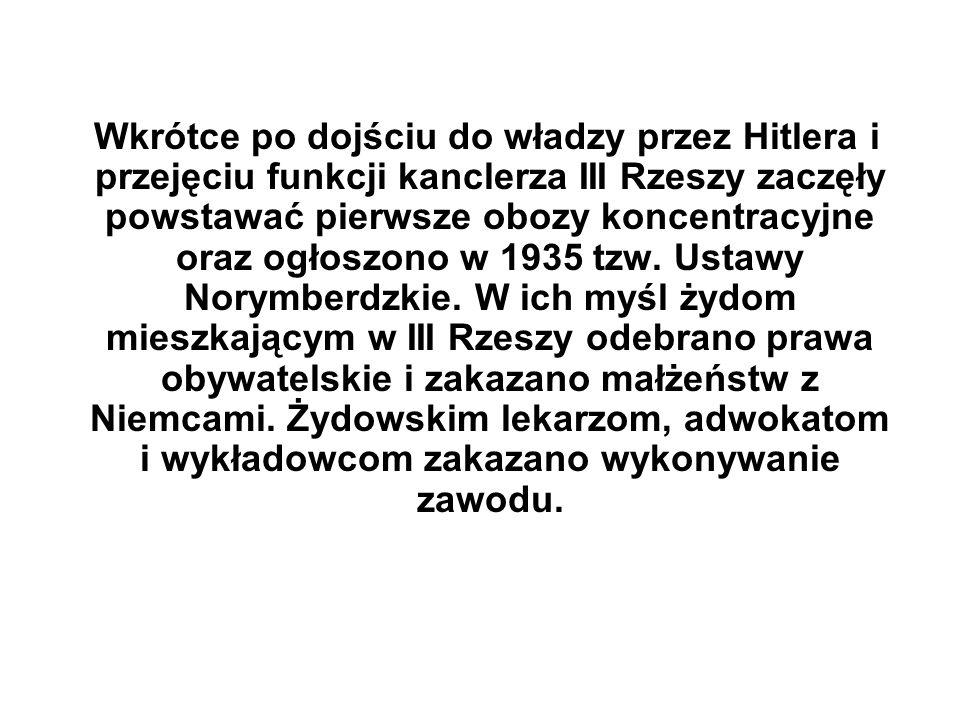 Wkrótce po dojściu do władzy przez Hitlera i przejęciu funkcji kanclerza III Rzeszy zaczęły powstawać pierwsze obozy koncentracyjne oraz ogłoszono w 1