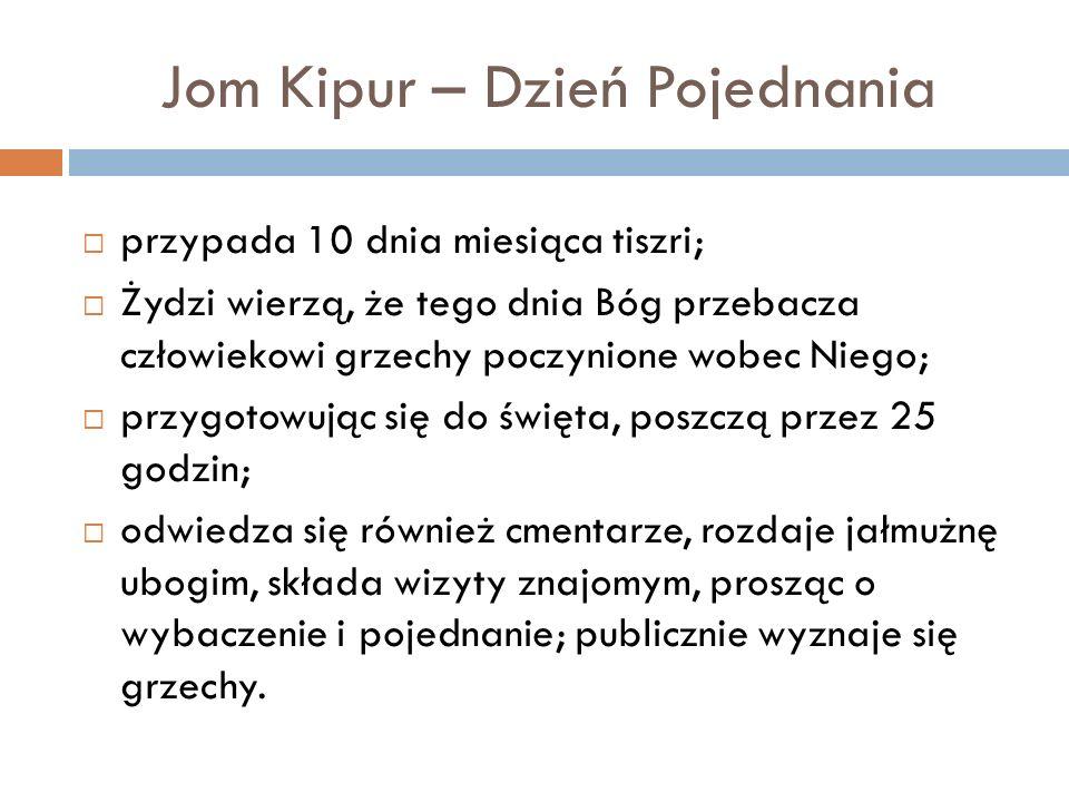 Jom Kipur – Dzień Pojednania przypada 10 dnia miesiąca tiszri; Żydzi wierzą, że tego dnia Bóg przebacza człowiekowi grzechy poczynione wobec Niego; pr