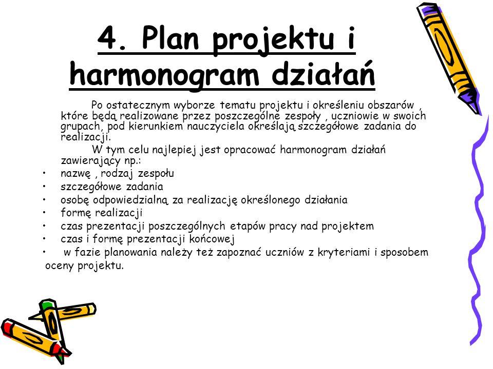 4. Plan projektu i harmonogram działań Po ostatecznym wyborze tematu projektu i określeniu obszarów, które będą realizowane przez poszczególne zespoły