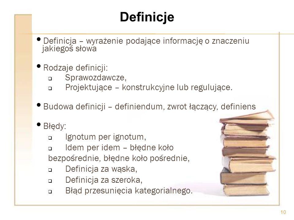 Definicja – wyrażenie podające informację o znaczeniu jakiegoś słowa Rodzaje definicji: Sprawozdawcze, Projektujące – konstrukcyjne lub regulujące. Bu