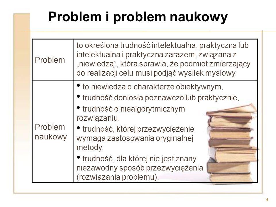 4 Problem to określona trudność intelektualna, praktyczna lub intelektualna i praktyczna zarazem, związana z niewiedzą, która sprawia, że podmiot zmie