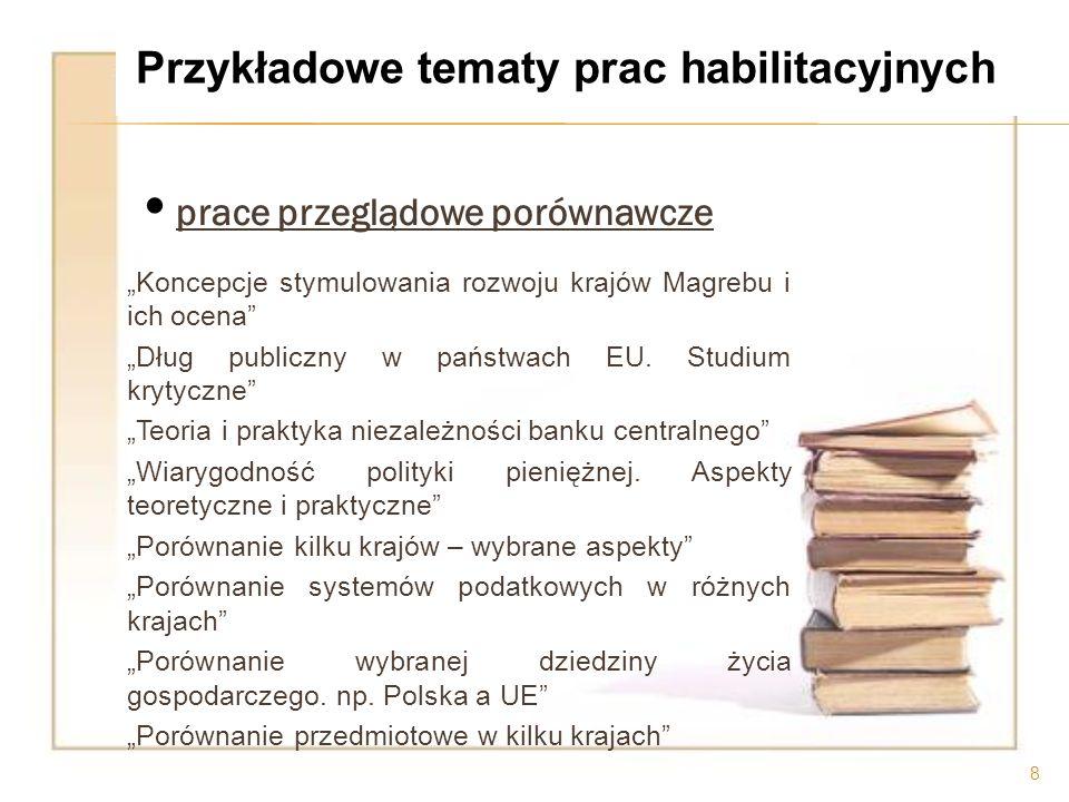 o cena krytyczna modeli Ilościowe modele oceny zdolności kredytowej i ich efektywność Zastosowanie modeli wyceny kosztu kapitału własnego w warunkach gospodarki polskiej Modele nadzoru bankowego.