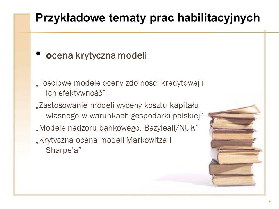 o cena krytyczna modeli Ilościowe modele oceny zdolności kredytowej i ich efektywność Zastosowanie modeli wyceny kosztu kapitału własnego w warunkach