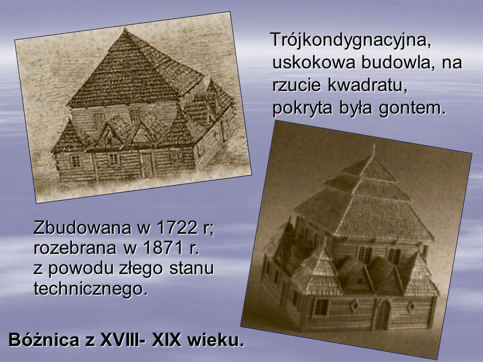 Trójkondygnacyjna, uskokowa budowla, na rzucie kwadratu, pokryta była gontem. Trójkondygnacyjna, uskokowa budowla, na rzucie kwadratu, pokryta była go