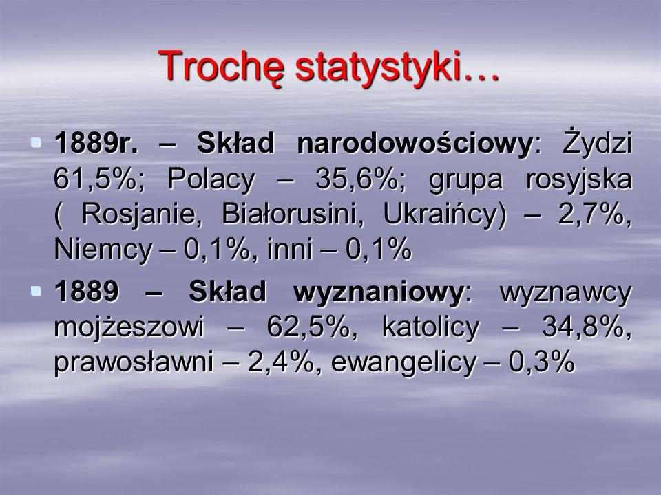 Trochę statystyki… 1889r. – Skład narodowościowy: Żydzi 61,5%; Polacy – 35,6%; grupa rosyjska ( Rosjanie, Białorusini, Ukraińcy) – 2,7%, Niemcy – 0,1%