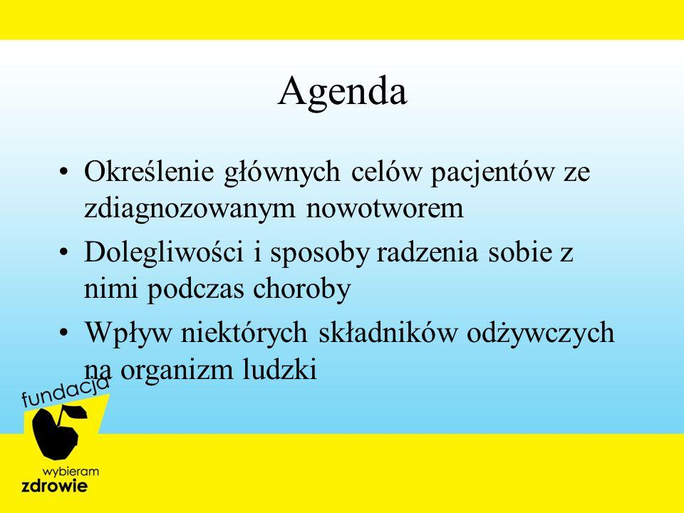 Agenda Określenie głównych celów pacjentów ze zdiagnozowanym nowotworem Dolegliwości i sposoby radzenia sobie z nimi podczas choroby Wpływ niektórych