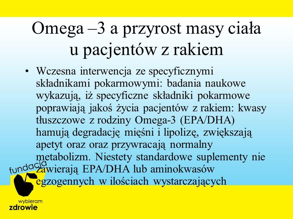 Omega –3 a przyrost masy ciała u pacjentów z rakiem Wczesna interwencja ze specyficznymi składnikami pokarmowymi: badania naukowe wykazują, iż specyfi