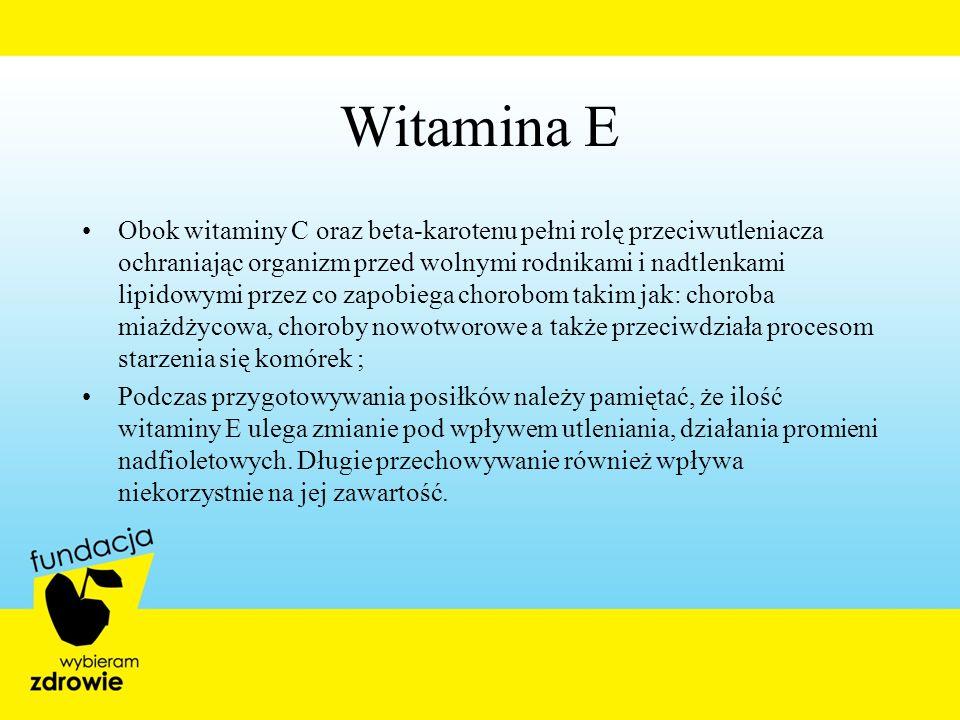 Obok witaminy C oraz beta-karotenu pełni rolę przeciwutleniacza ochraniając organizm przed wolnymi rodnikami i nadtlenkami lipidowymi przez co zapobie