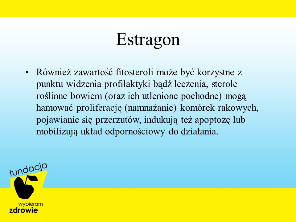 Estragon Również zawartość fitosteroli może być korzystne z punktu widzenia profilaktyki bądź leczenia, sterole roślinne bowiem (oraz ich utlenione po