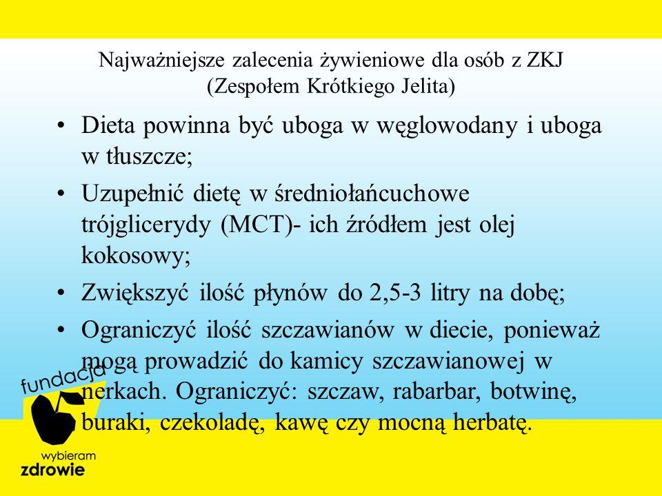 Najważniejsze zalecenia żywieniowe dla osób z ZKJ (Zespołem Krótkiego Jelita) Dieta powinna być uboga w węglowodany i uboga w tłuszcze; Uzupełnić diet