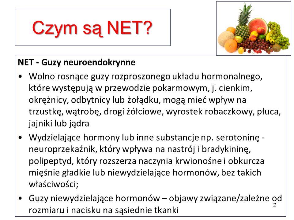 Czym są NET? NET - Guzy neuroendokrynne Wolno rosnące guzy rozproszonego układu hormonalnego, które występują w przewodzie pokarmowym, j. cienkim, okr