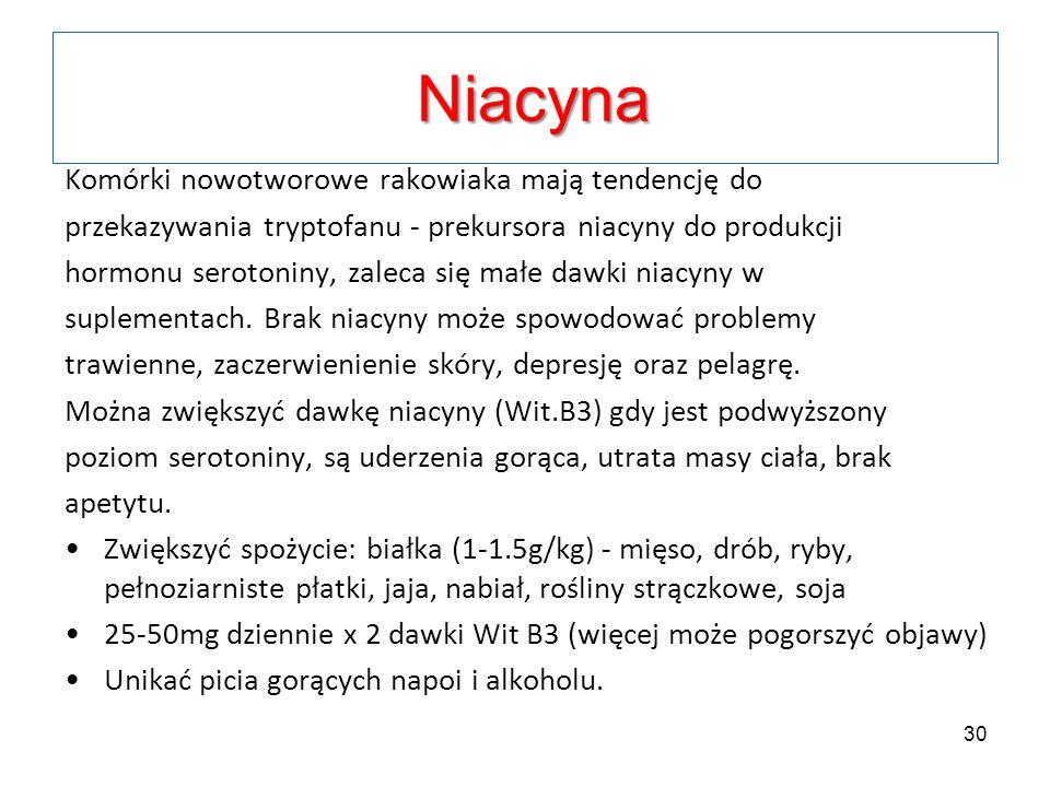Komórki nowotworowe rakowiaka mają tendencję do przekazywania tryptofanu - prekursora niacyny do produkcji hormonu serotoniny, zaleca się małe dawki n