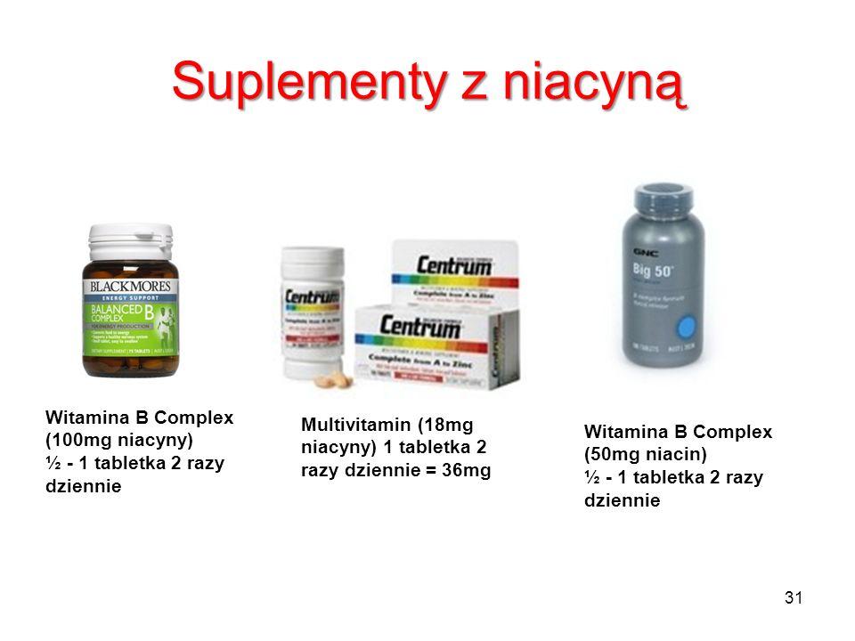 Suplementy z niacyną Witamina B Complex (100mg niacyny) ½ - 1 tabletka 2 razy dziennie Multivitamin (18mg niacyny) 1 tabletka 2 razy dziennie = 36mg W