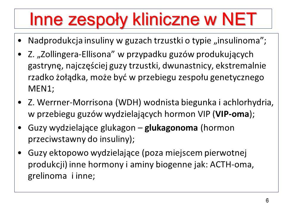 Inne zespoły kliniczne w NET Nadprodukcja insuliny w guzach trzustki o typie insulinoma; Z. Zollingera-Ellisona w przypadku guzów produkujących gastry