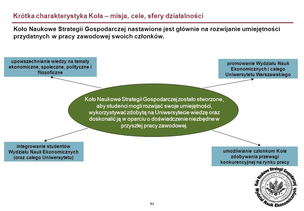 P3 Krótka charakterystyka Koła – misja, cele, sfery działalności Koło Naukowe Strategii Gospodarczej nastawione jest głównie na rozwijanie umiejętności przydatnych w pracy zawodowej swoich członków.