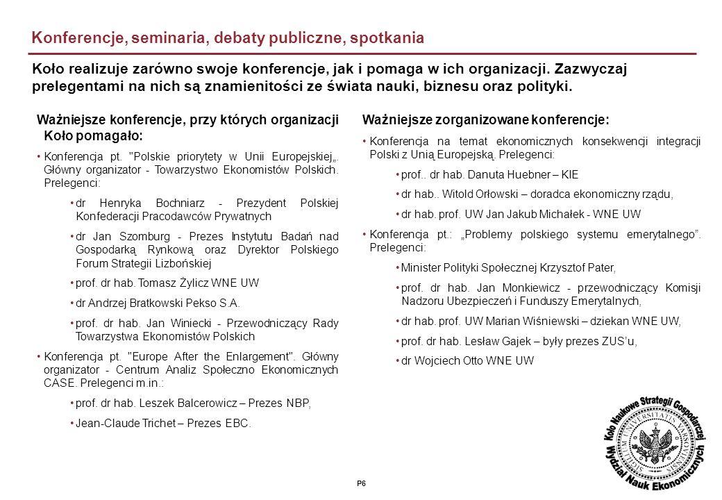 P6 Konferencje, seminaria, debaty publiczne, spotkania Ważniejsze zorganizowane konferencje: Konferencja na temat ekonomicznych konsekwencji integracji Polski z Unią Europejską.