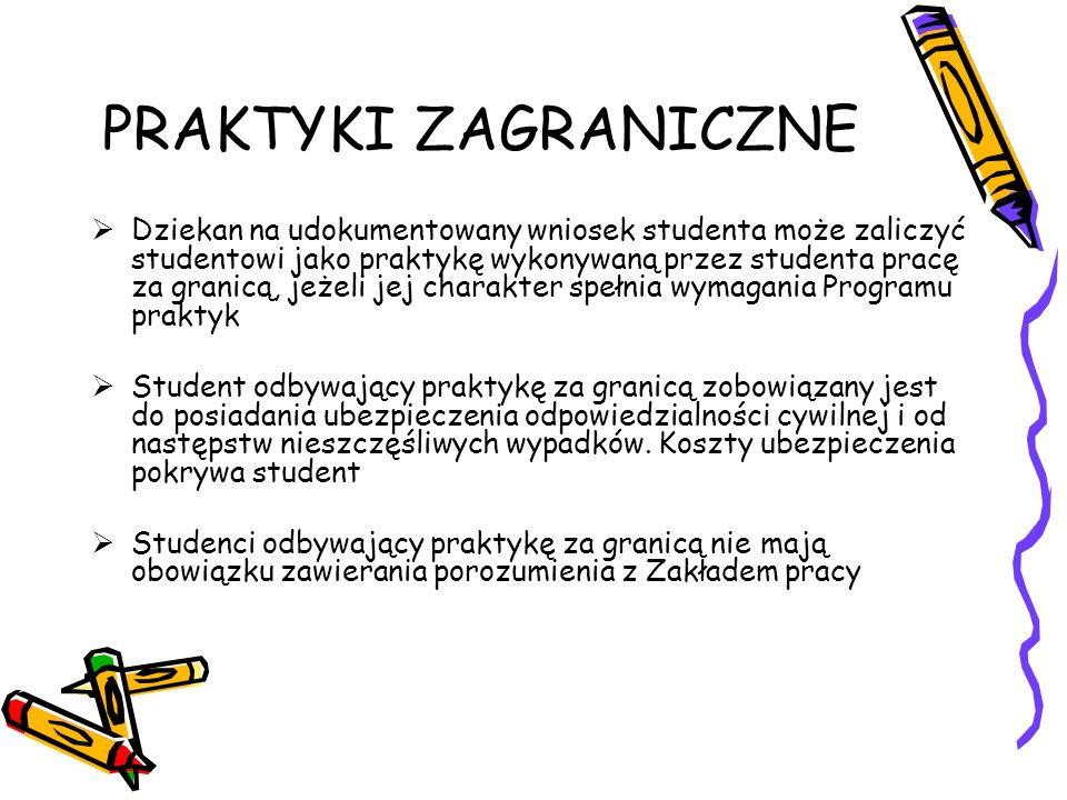 PRAKTYKI ZAGRANICZNE Dziekan na udokumentowany wniosek studenta może zaliczyć studentowi jako praktykę wykonywaną przez studenta pracę za granicą, jeż