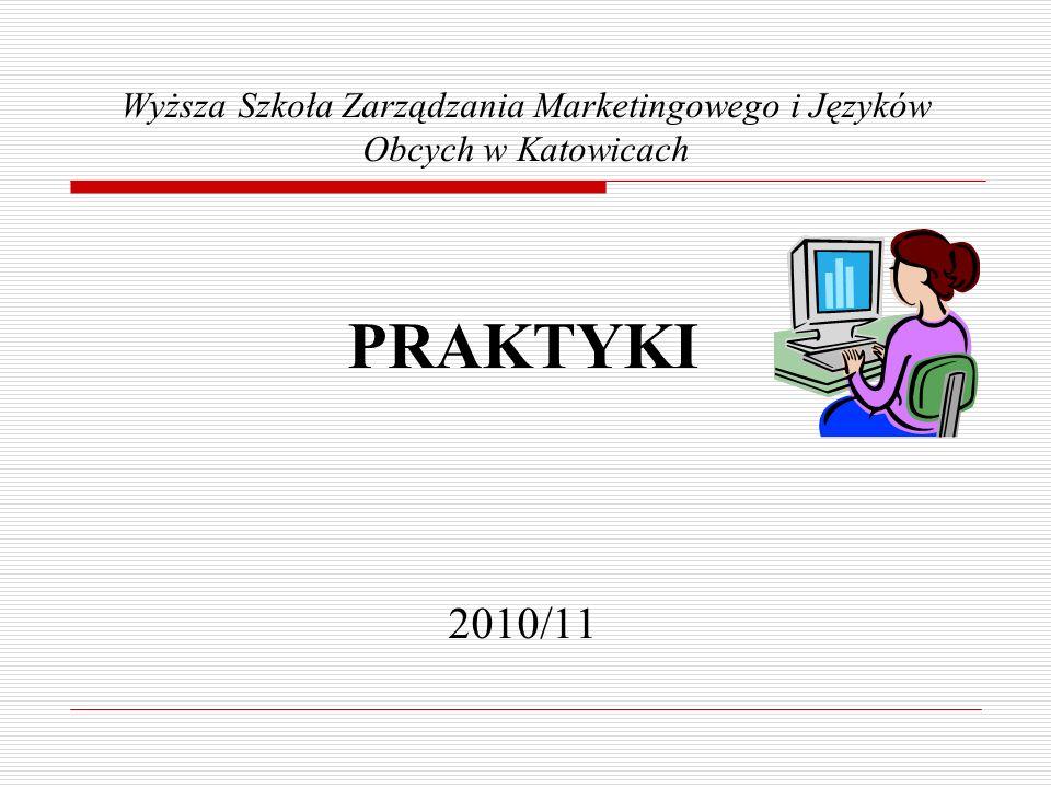 Wyższa Szkoła Zarządzania Marketingowego i Języków Obcych w Katowicach PRAKTYKI 2010/11
