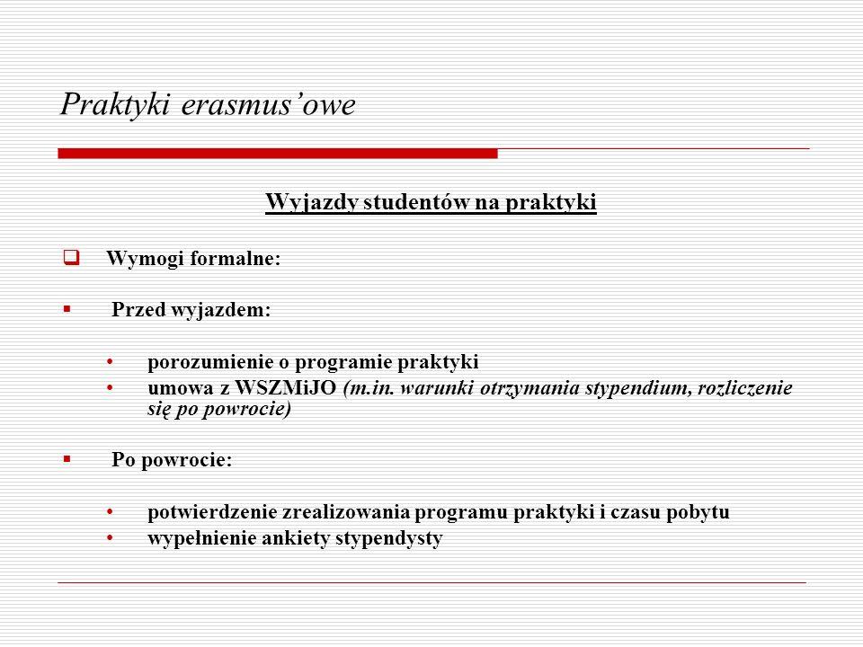 Praktyki erasmusowe Wyjazdy studentów na praktyki Wymogi formalne: Przed wyjazdem: porozumienie o programie praktyki umowa z WSZMiJO (m.in. warunki ot