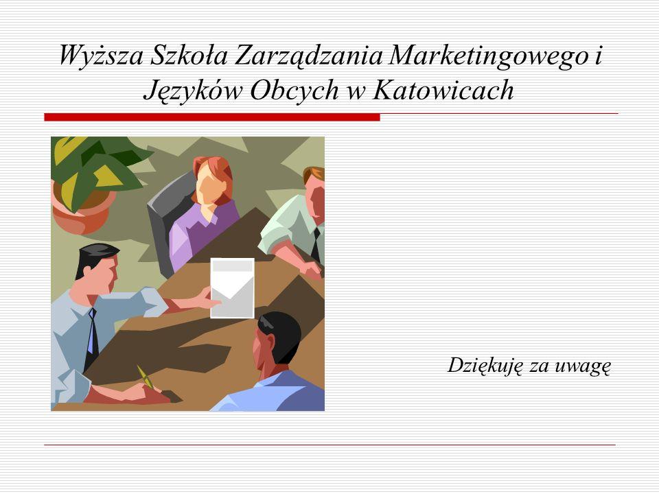 Wyższa Szkoła Zarządzania Marketingowego i Języków Obcych w Katowicach Dziękuję za uwagę