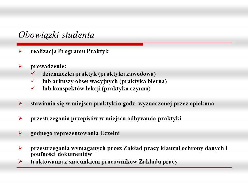 Obowiązki studenta realizacja Programu Praktyk prowadzenie: dzienniczka praktyk (praktyka zawodowa) lub arkuszy obserwacyjnych (praktyka bierna) lub k