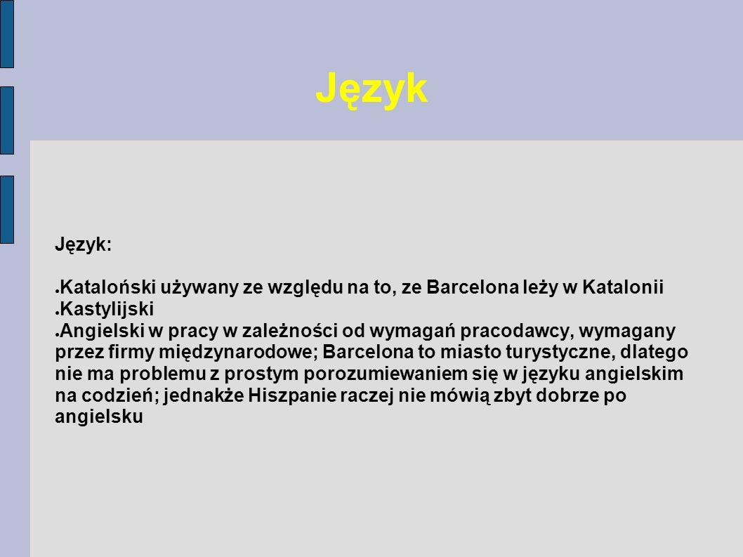 Język Język: Kataloński używany ze względu na to, ze Barcelona leży w Katalonii Kastylijski Angielski w pracy w zależności od wymagań pracodawcy, wyma