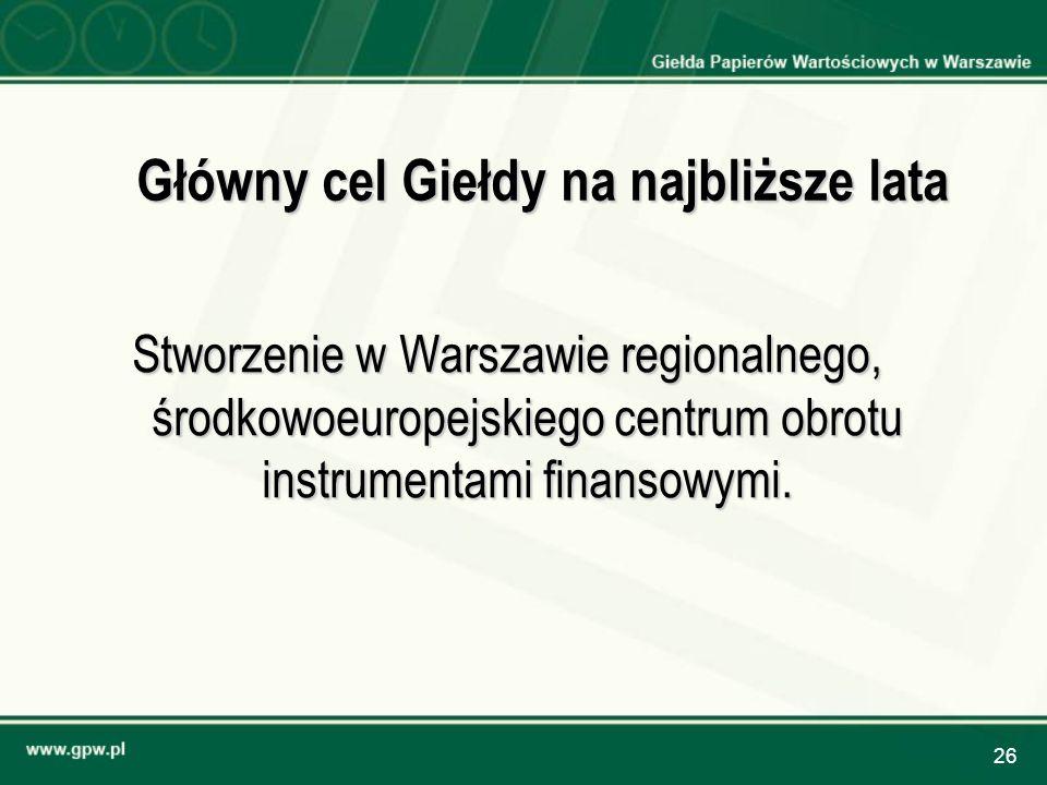 26 Główny cel Giełdy na najbliższe lata Stworzenie w Warszawie regionalnego, środkowoeuropejskiego centrum obrotu instrumentami finansowymi.