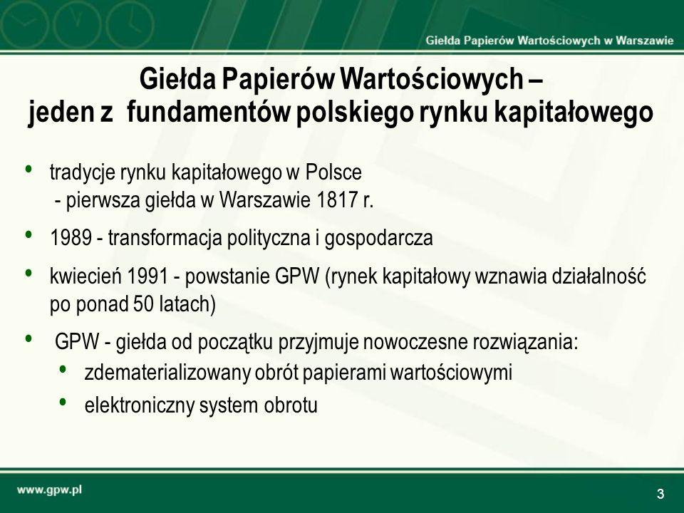 3 Giełda Papierów Wartościowych – jeden z fundamentów polskiego rynku kapitałowego tradycje rynku kapitałowego w Polsce - pierwsza giełda w Warszawie
