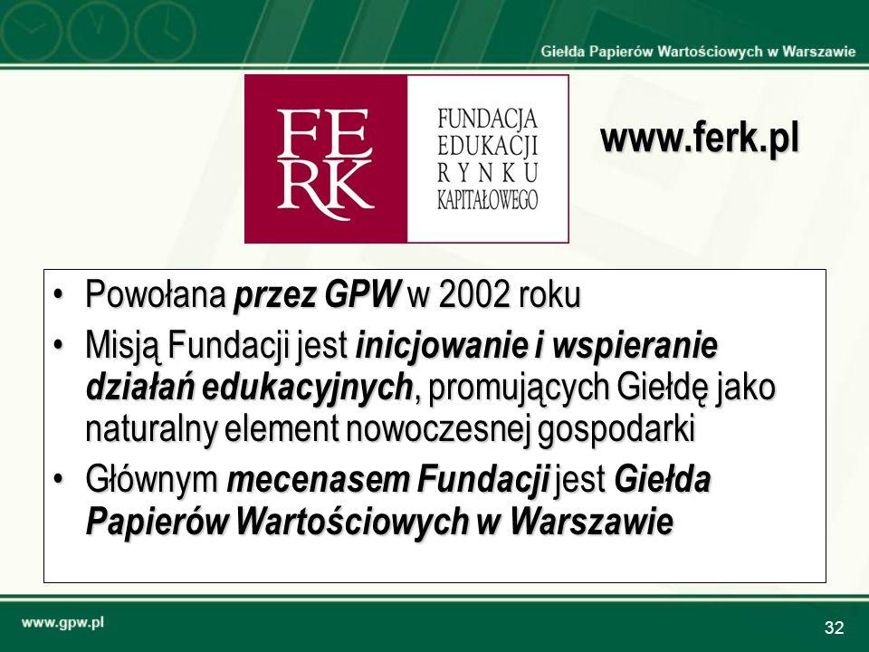 32 Powołana przez GPW w 2002 rokuPowołana przez GPW w 2002 roku Misją Fundacji jest inicjowanie i wspieranie działań edukacyjnych, promujących Giełdę