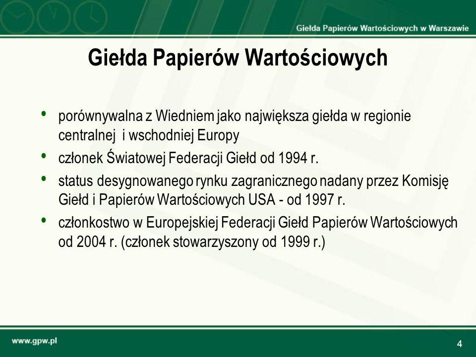4 Giełda Papierów Wartościowych porównywalna z Wiedniem jako największa giełda w regionie centralnej i wschodniej Europy członek Światowej Federacji G