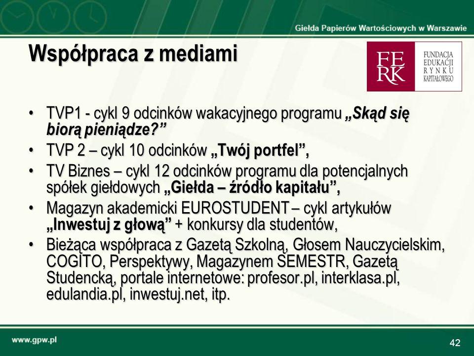 42 Współpraca z mediami TVP1 - cykl 9 odcinków wakacyjnego programu Skąd się biorą pieniądze?TVP1 - cykl 9 odcinków wakacyjnego programu Skąd się bior