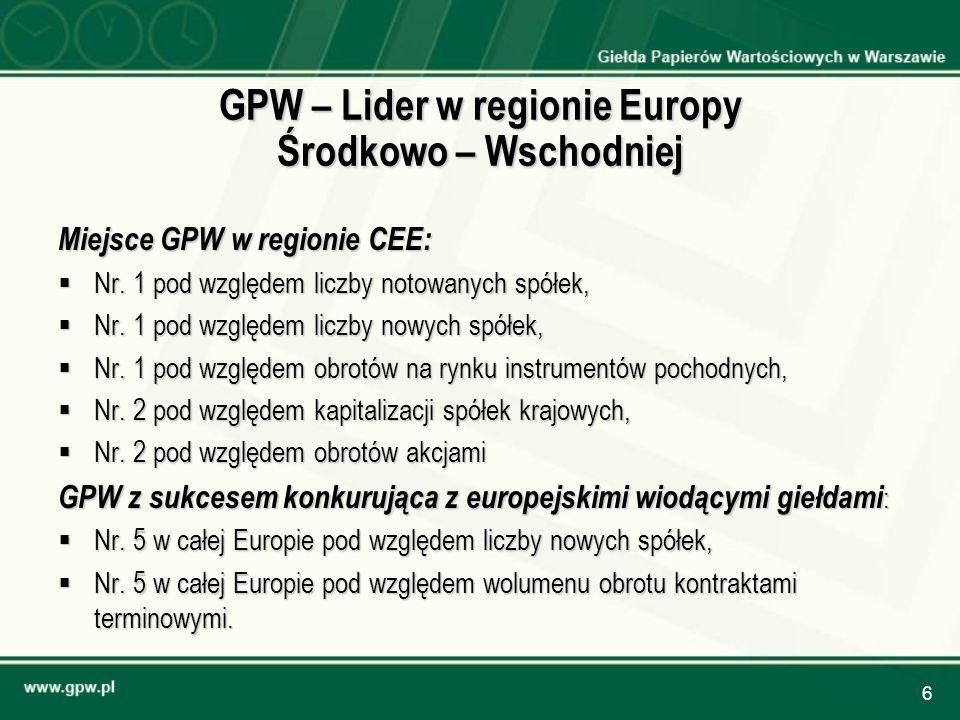 6 GPW – Lider w regionie Europy Środkowo – Wschodniej Miejsce GPW w regionie CEE: Nr. 1 pod względem liczby notowanych spółek, Nr. 1 pod względem licz