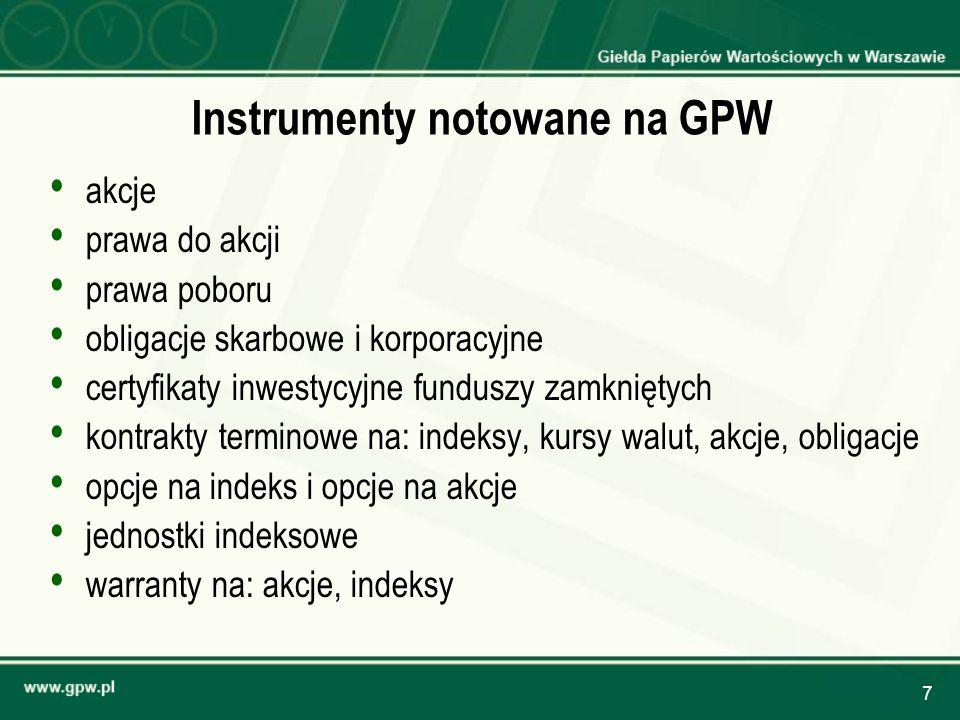 7 Instrumenty notowane na GPW akcje prawa do akcji prawa poboru obligacje skarbowe i korporacyjne certyfikaty inwestycyjne funduszy zamkniętych kontra