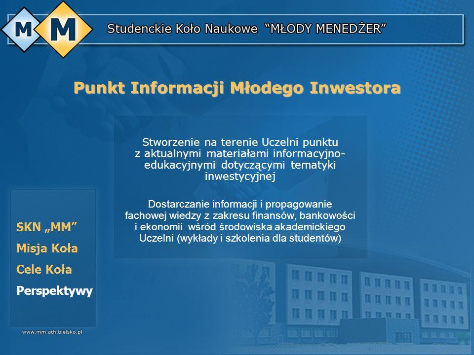 SKN MM Misja Koła Cele Koła Perspektywy Stworzenie na terenie Uczelni punktu z aktualnymi materiałami informacyjno- edukacyjnymi dotyczącymi tematyki