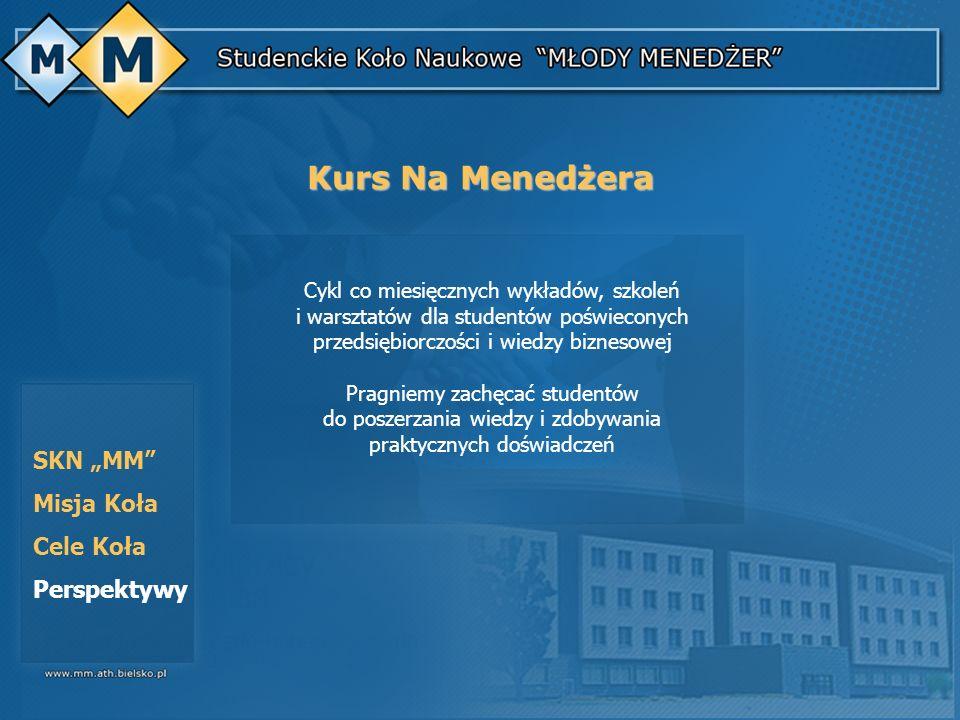 SKN MM Misja Koła Cele Koła Perspektywy Cykl co miesięcznych wykładów, szkoleń i warsztatów dla studentów poświeconych przedsiębiorczości i wiedzy biz