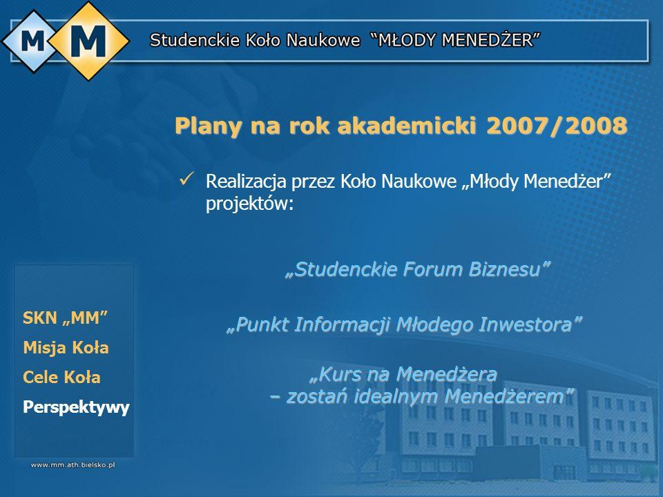 Studenckie Forum Biznesu Studenckie Forum Biznesu Punkt Informacji Młodego Inwestora Kurs na Menedżera – zostań idealnym Menedżerem SKN MM Misja Koła