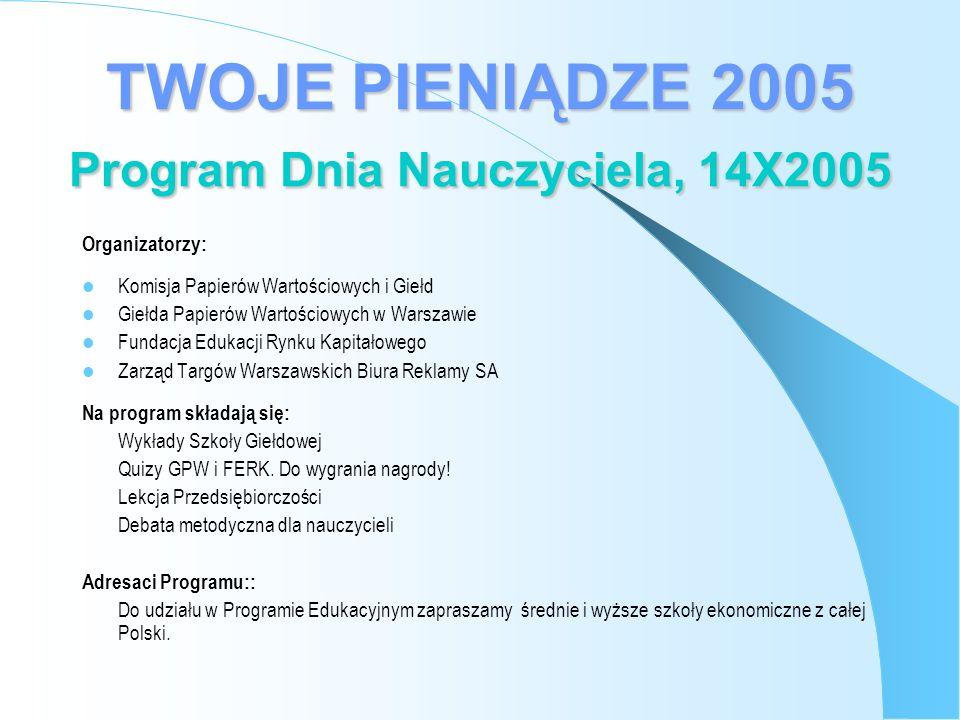 Organizatorzy: Komisja Papierów Wartościowych i Giełd Giełda Papierów Wartościowych w Warszawie Fundacja Edukacji Rynku Kapitałowego Zarząd Targów Warszawskich Biura Reklamy SA Na program składają się: Wykłady Szkoły Giełdowej Quizy GPW i FERK.