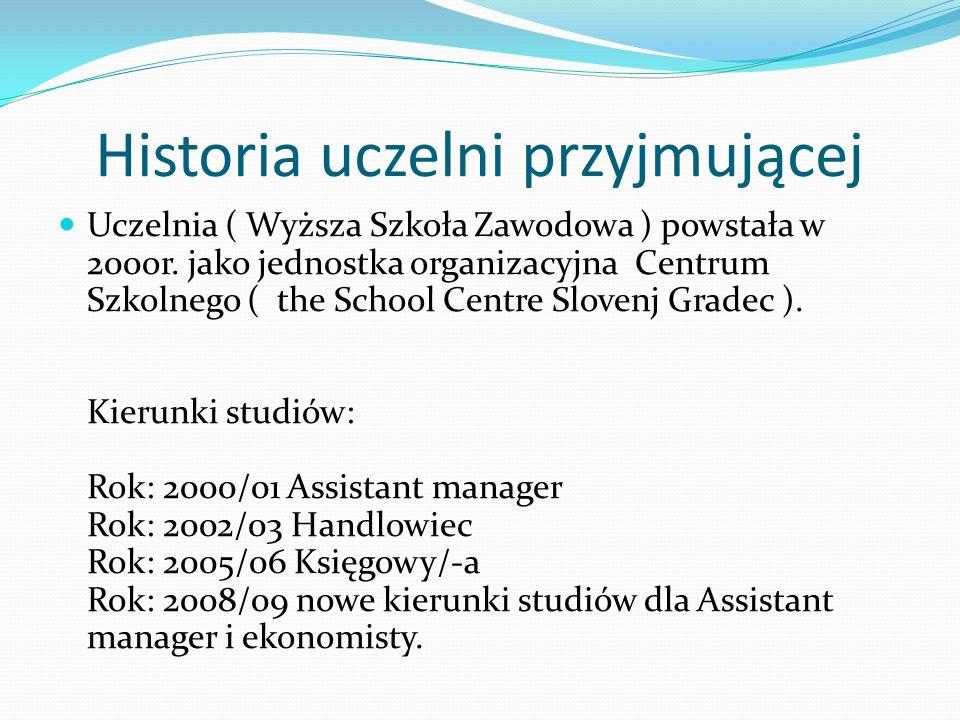 Historia uczelni przyjmującej Uczelnia ( Wyższa Szkoła Zawodowa ) powstała w 200or. jako jednostka organizacyjna Centrum Szkolnego ( the School Centre
