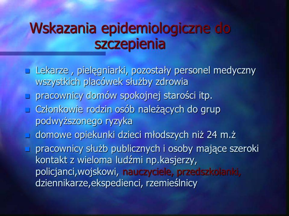 Wskazania epidemiologiczne do szczepienia n Lekarze, pielęgniarki, pozostały personel medyczny wszystkich placówek służby zdrowia n pracownicy domów s